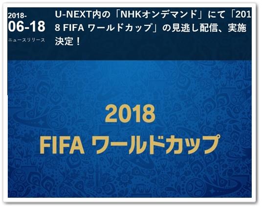 ワールドカップ 見逃し配信 2018 FIFA サッカー 試合の動画 U-NEXT(ユーネクスト)
